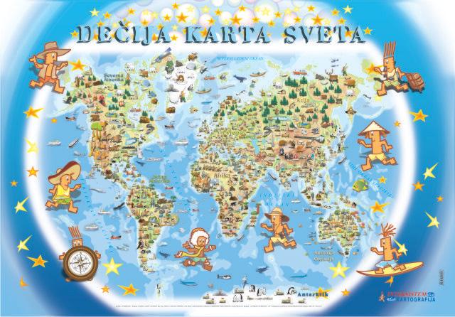 decija karta sveta Poster   Zidna karta decija karta sveta